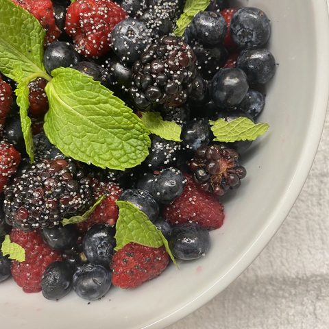 Mixed Berry Salad with Lime Juice, Agave, Poppy Seeds, & Fresh Mint